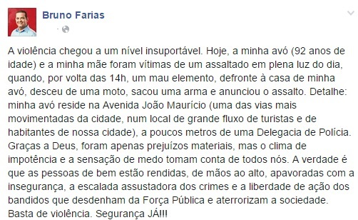 Assalto avó de Bruno Farias