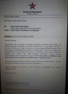Resolução do Diretório nacional do PT