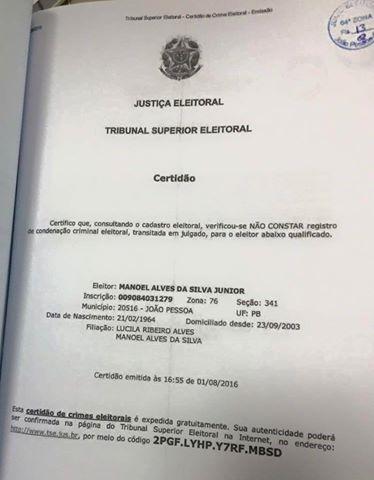 Certidão Manoel Junior