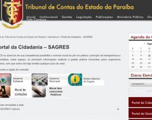 Site do Tribunal de Contas da Paraíba