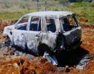 Carro de ex-vereador morto é encontrado queimado na fronteira com o Paraguai