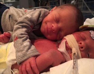Parents Brandy Guettler and Tommy Buchmeyer of twin boys Mason and Hawk Buchmeyer Three-week-old Hawk Buchmeyer, who was pictured being comforted by his brother, passed away after developing a rare condition