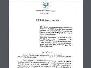 Decreto de cancelamento do concurso de agente de combate à endemias de Mamanguape (Foto: Reprodução/Site da Funvapi)