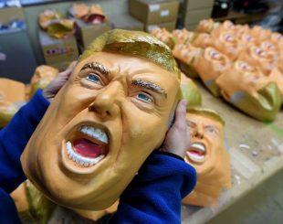 Fabricante de máscaras Ogawa Studios comemora alta nas vendas após eleição de Donald Trump (Foto: Toshifumi Kitamura / AFP)