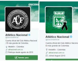 Atlético Nacional chegou a mudar o escudo, mas depois voltou ao seu com um símbolo de luto (Foto: Reprodução Twitter)