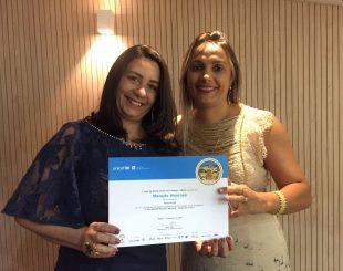 Naura Ferreira e Juliana Diniz durante a solenidade